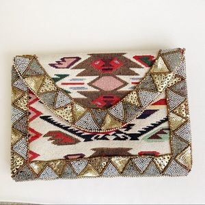 Tribal Cotton Beaded Envelope Snap Front Clutch
